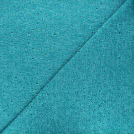 Tissu maille lurex ajouré Nino - bleu lagon x 10cm