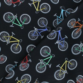 Timeless Treasures cotton fabric - black Colorful bicycles x 10cm