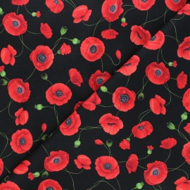 Timeless Treasures cotton fabric - black Medium red poppies x 10cm