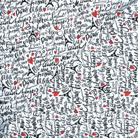 Timeless Treasures cotton fabric - white Parisian words x 10cm