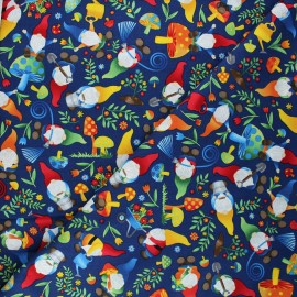 Timeless Treasures cotton fabric - navy blue Woodland gnomes x 10cm