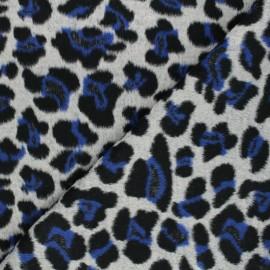 Tissu drap de laine Cheetah - bleu x 10cm