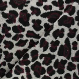 Wool fabric - burgundy Cheetah x 10cm