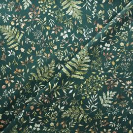 Dear Stella cotton fabric Little fawn & friends - dark green Autumn ferns & leaves x 10cm