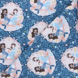 Tissu coton Dear Stella Shell we dance - Lookin' swell seashell - bleu x 10cm