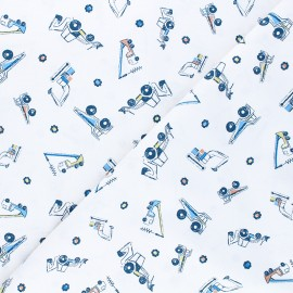 Dear Stella cotton fabric Get loaded - white Heavy metal x 10cm