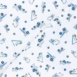 Tissu coton Dear Stella Get loaded - Heavy metal - blanc x 10cm