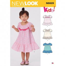 Balloon Sleeve Dress Sewing Pattern for Kids - New Look 6629