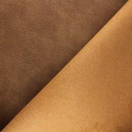 Tissu polyester envers cuir recyclé Pawnee - marron x 10cm