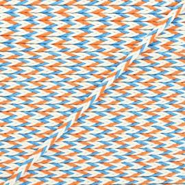 Cordon tressé Vivia 7mm - orange/bleu x 1m