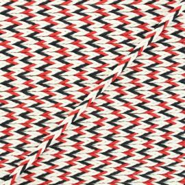 Cordon tressé Vivia 7mm - rouge/noir x 1m