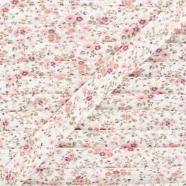 20mm cotton bias binding - waterpink Wild roses x 1m