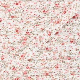 20mm cotton bias binding - pink Wild roses x 1m