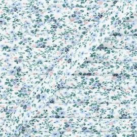 Biais coton Wild roses 20 mm - bleu x 1m