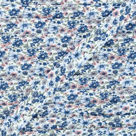 Biais coton Fleurs des champs 20 mm - bleu x 1m