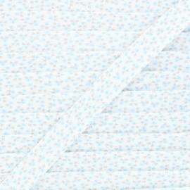 20mm cotton bias binding - blue Clover flower x 1m