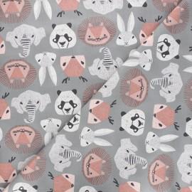 Dear Stella cotton fabric New here - grey Animal heads x 10cm