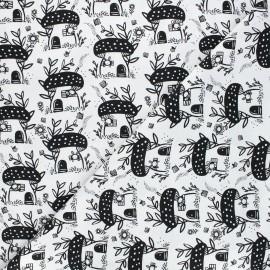 Dear Stella cotton fabric Those who wander - white Mushroom x 10cm