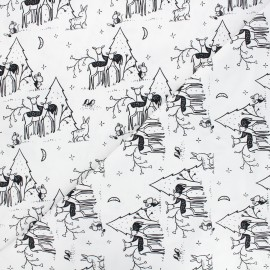 Dear Stella cotton fabric Those who wander - raw Fawn and forest x 10cm