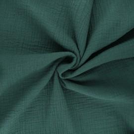Tissu double gaze de coton MPM - vert sapin x 10cm