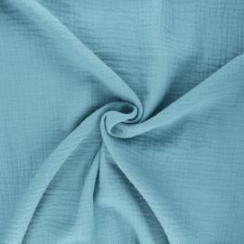 Tissu double gaze de coton MPM - bleu clair x 10cm