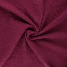 Tissu double gaze de coton MPM - lie de vin x 10cm