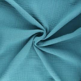 Tissu double gaze de coton MPM - bleu x 10cm