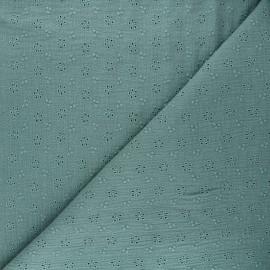 Tissu double gaze de coton brodé Agatha - vert eucalyptus x 10cm