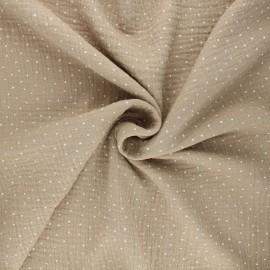 Poppy Double cotton gauze fabric - beige Little Dots x 10cm