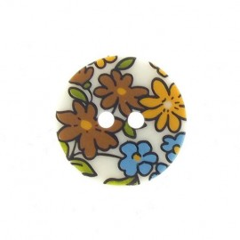 Flowered button - yellow