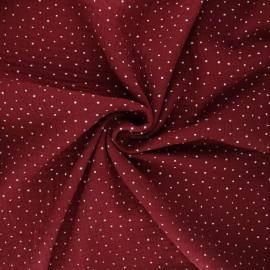 Tissu double gaze de coton Poppy Little Dots - bordeaux x 10cm