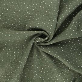 Poppy Double cotton gauze fabric - khaki green Little Dots x 10cm