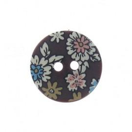 Flowered button - brown