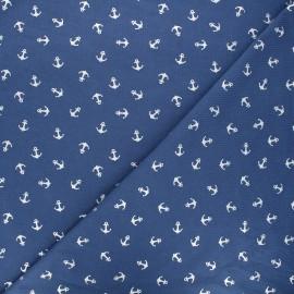 Tissu jersey Passion ancre - bleu houle/argent x 10cm
