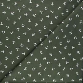 Printed jersey fabric - khaki/silver Passion ancre x 10cm