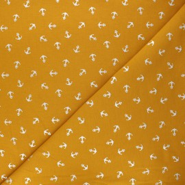 Printed jersey fabric - mustard yellow/silver Passion ancre x 10cm
