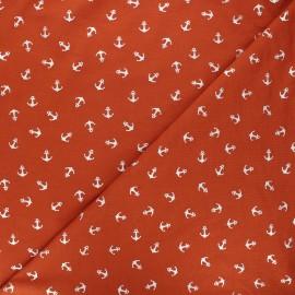 Tissu jersey Passion ancre - orange/argent x 10cm