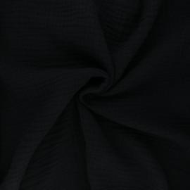 Plain Triple gauze fabric - black Sorbet x 10cm