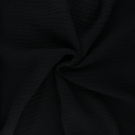 Tissu triple gaze de coton uni Sorbet - noir x 10cm