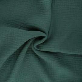 Tissu triple gaze de coton uni Sorbet - vert sapin x 10cm