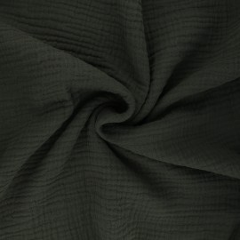 Plain Triple gauze fabric - dark khaki green Sorbet x 10cm