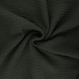 Tissu triple gaze de coton uni Sorbet - kaki foncé x 10cm