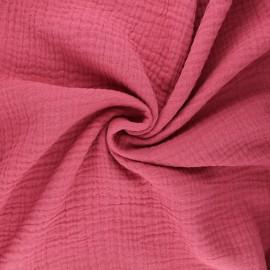 Tissu triple gaze de coton uni Sorbet - rose bonbon x 10cm