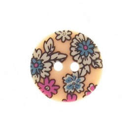 Flowered button - pale pink