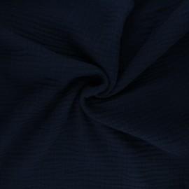 Tissu triple gaze de coton uni Sorbet - bleu nuit x 10cm