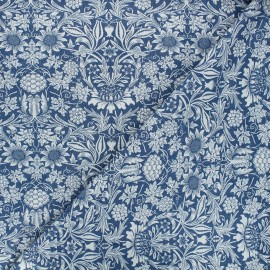 Patterned elastane jeans fabric - blue Garden x 10cm