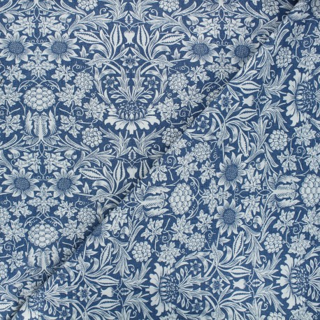 Tissu jeans fluide élasthanne Garden - bleu x 10cm