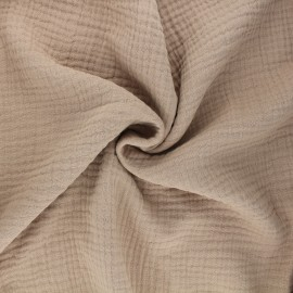 Tissu triple gaze de coton uni Sorbet - sable x 10cm