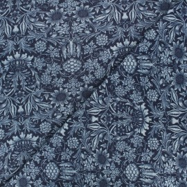 Patterned elastane jeans fabric - dark blue Garden x 10cm
