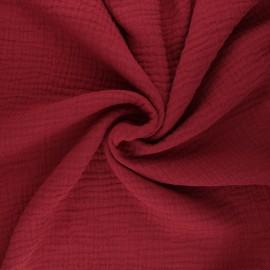 Tissu triple gaze de coton uni Sorbet - brique x 10cm